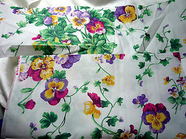 Purple Pansys on White Cotton Quilting Fabric Remnants  See Listing for ... - $2.99