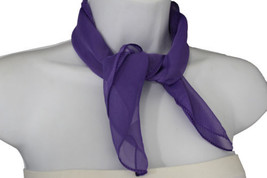 Women Fashion Neck Scarf Light Purple Lavender Soft Fabric Square Pocket... - $12.82 CAD