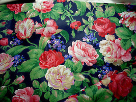 Navy Pink Purple Floral Polished Cotton Quilting Fabric 113 x 44 inches - $19.78