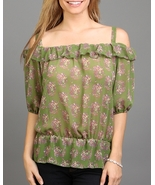 Floral Peekaboo Top With Synched Waist Off Shoulder - $9.99