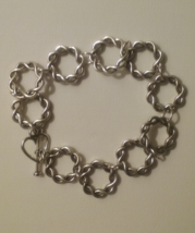 Handmade Silver Infinity Circle Links Bracelet  - $12.99