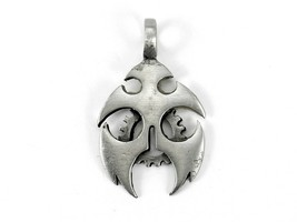 Gothic Metal Necklace Pendant, Rounded Cutouts w/Cogwheel, Silvertone, #... - $4.85