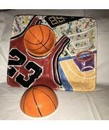Chicago Bulls #23 Jordan Ceramic 3-D Serving Tray Chip Dip Set Basketbal... - $84.14