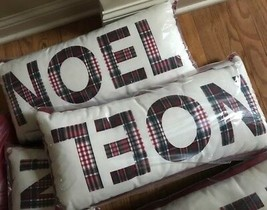 Pottery Barn Noel Complete Lumbar Pillow 12x25L Plaid Christmas Outdoor New - $24.39