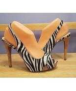 GUESS Women Size 8.5 ELIANA Zebra Textile Designer Open Toe Platform Pumps - $24.74