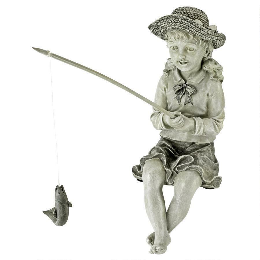 GIRL CHILD FISH STATUE Outdoor Garden Desk Pond Pool Lake Cabin Sculpture Art