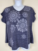 Style & Co Womens Plus Size 1X Blue Heathered Mandala T-Shirt Short Sleeve - $17.82