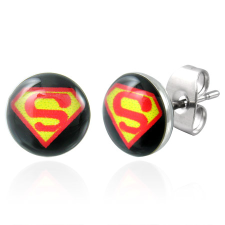Superman Logo Earrings-- Stainless Steel
