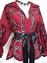 Vintage Victor Costa Red and Black Taffeta Broderie Anglaise Top Blouse ... - $23.36