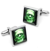 Frankenstein Universal Monster Horror Silver Icon Glass Cufflink Set w/ Box - $35.99
