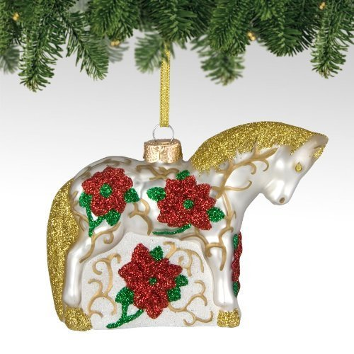 Primary image for Trail of Painted Ponies from Enesco Poinsettia Glass Christmas 3 IN [Misc.]