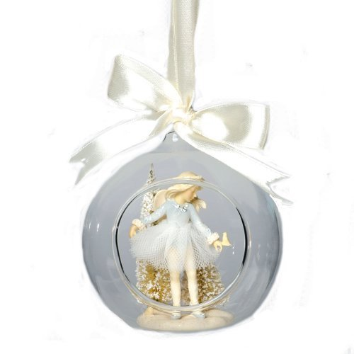 Enesco Foundations Ballerina Glass Dome Ornament by Artist Karen Hahn, 3.74-Inch
