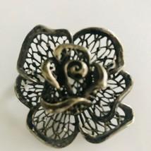 VINTAGE Silvertone FLOWER BROOCH FILIGREE DIMENSIONAL PIN J0646 - $8.55