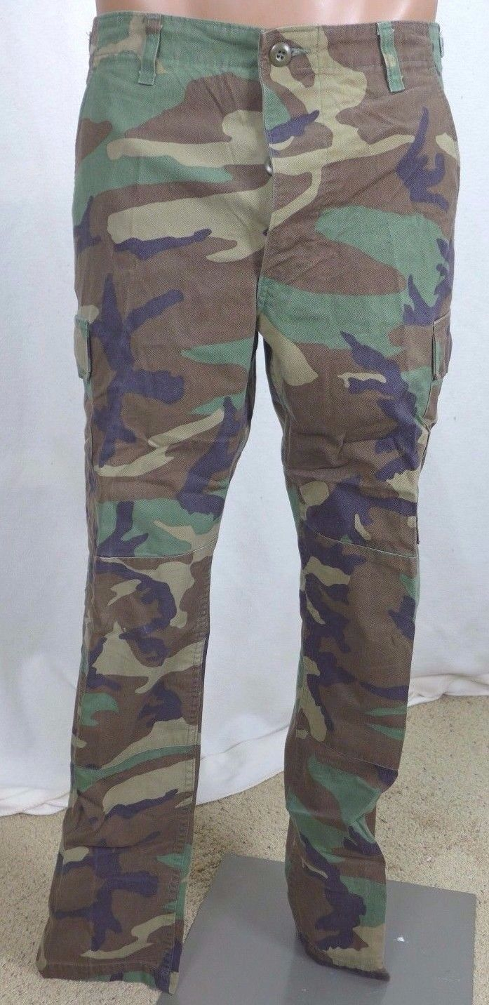 US Army BDU Uniform Pants Trousers Woodland Camo Small Reg