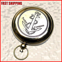 NEW Brass Pocket Compass w/ Lid - Magnetic - Push Button - Nautical Camping - $23.99
