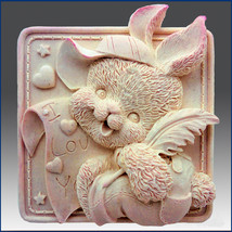 Bunny Bear - Detail of high relief sculpture, silicone Soap/polymer/clay... - $26.73