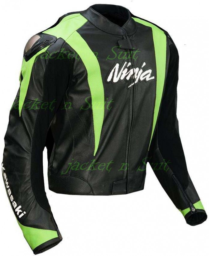 KAWASAKI NINJA GREEN LEATHER JACKET MOTORCYCLE BIKER MEN'S ...