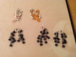 Five pairs of dangly long handmade jewel pearl silver earrings - $39.99