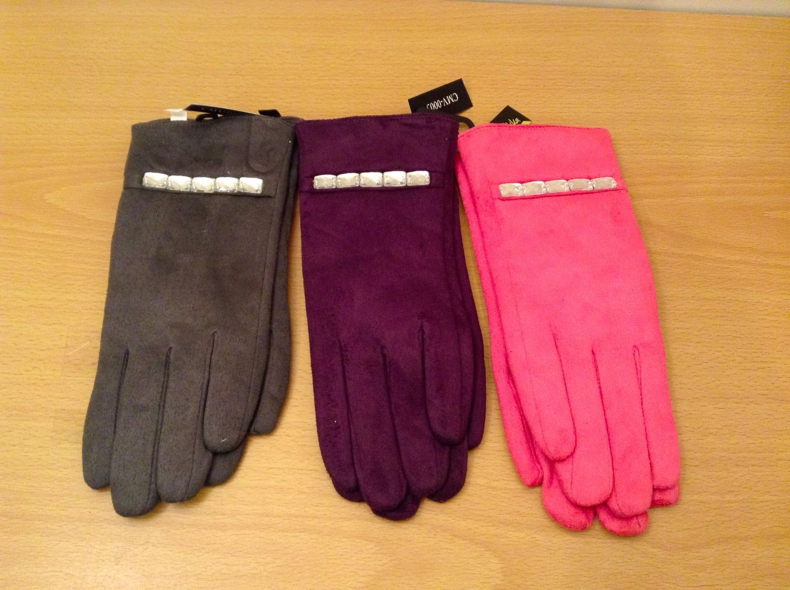 New Ladies Fabric Gloves Faux Fur Lining Clear Crystal studs, choice of color