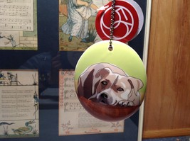Oval Ceramic American Staffordshire Pit Bull Dog Ornament  Metal Chain Dept 56