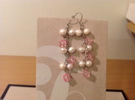 Five pairs of dangly long handmade jewel pearl silver earrings image 4