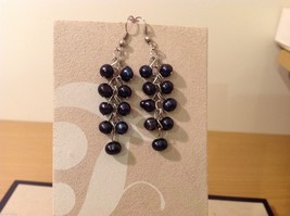 Five pairs of dangly long handmade jewel pearl silver earrings image 5