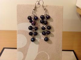 Five pairs of dangly long handmade jewel pearl silver earrings image 6