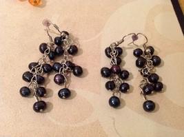 Five pairs of dangly long handmade jewel pearl silver earrings image 7