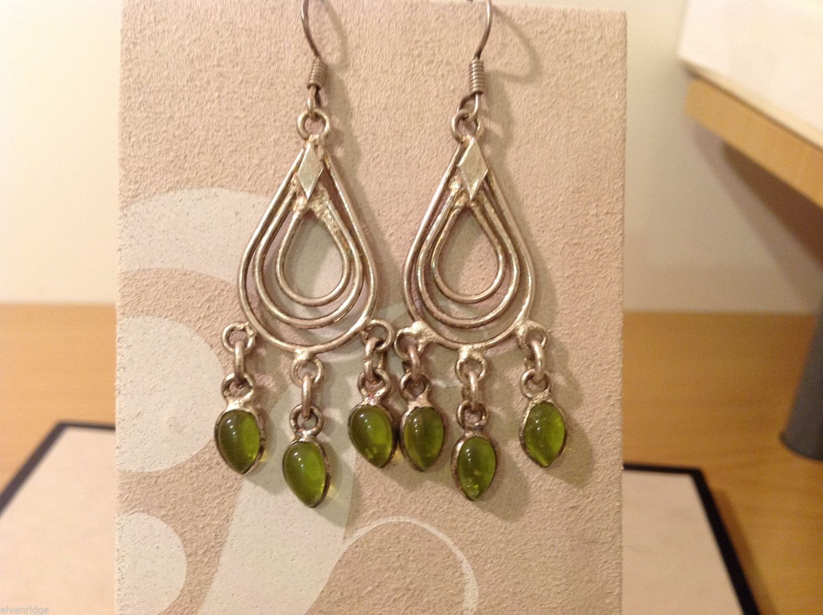 Two pairs of Vintage Green Silver Dangly Earrings