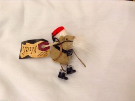 Vintage look Handmade Felt Mouse Ornament in Santa's Beard and Hat NO Ca... - $12.86