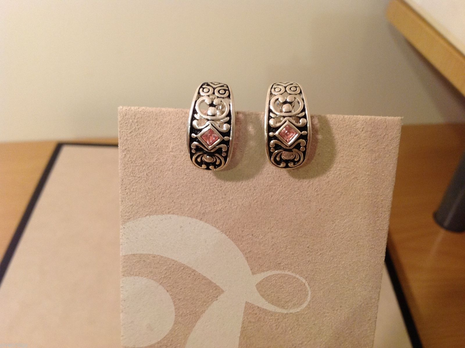 Silver Pair Omega Back  Pink Crystal Stone Earrings