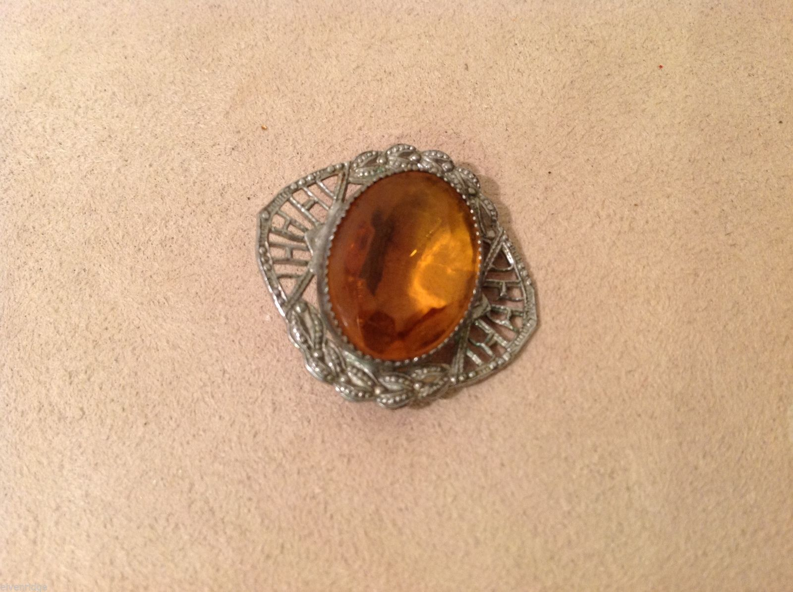 Vintage Pin amber color filigree silver tone