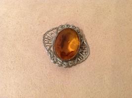 Vintage Pin amber color filigree silver tone
