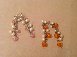 Five pairs of dangly long handmade jewel pearl silver earrings image 2
