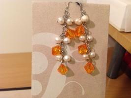 Five pairs of dangly long handmade jewel pearl silver earrings image 3