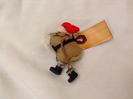 Vintage look Handmade Felt Mouse Ornament in Santa's Beard and Hat NO Candycane image 2