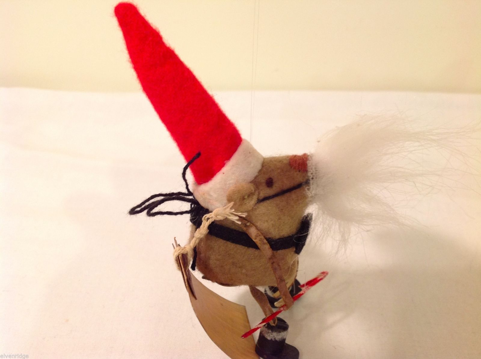 Vintage look Handmade Felt Mouse Ornament in Santa's Beard and Hat NO Candycane