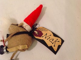Vintage look Handmade Felt Mouse Ornament in Santa's Beard and Hat NO Candycane image 6