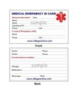 100  Medical Emergency wallet cards for Medical Alert Id bracelets and D... - $43.99