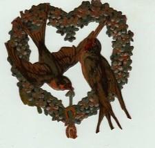 Victorian diecut scrap embossed tole painting Vintage birds w/ heart 3 1... - $13.85