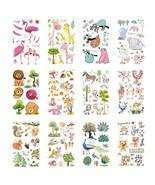 VIIRY Flamingo Elephant Lion Giraffe Temporary Tattoos for Kids, 12 Shee... - $9.17