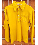 Vtg Munsingwear Long Sleeve Shirt-Yellow-Collar-M-Combed Cotton-Button-U... - $70.11
