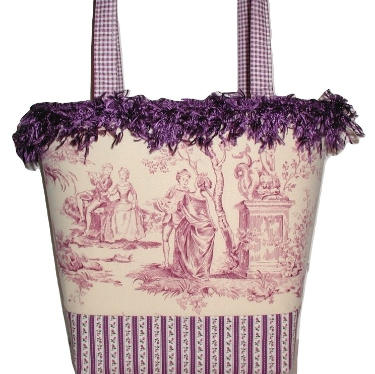 Primary image for Purple Purse, Purple Tote Bag, Romantic Purple Toile Purse