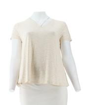 H Halston Slub Knit Stripe Short Slv Top Bone M NEW A301937 - $21.76