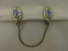 Vintage Sweater Clip, Porcelain with Hand Painted Flowers & Silver Toned... - $10.99