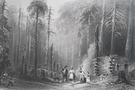 CANADA First Settlers Forest Hut Camp Fire - 1840s Engraving Print by BA... - $15.44