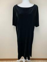 Lands End 1X 16W 18W Black Velvet Shift Dress Boat Neck Soft Womens - $24.99