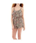 Arizona Sleeveless Print Romper Geometric Junior Size L New Msrp $34.00 - $14.99