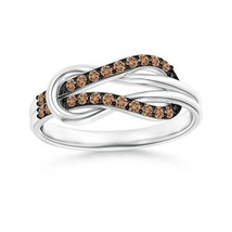 Natural Brown Diamond Infinity Love Knot Ring in 14k Gold/Platinum Size ... - $845.84+