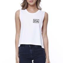 Mini USA Womens White Crop Tee Simple Design USA Printed Crop Top - $14.99
